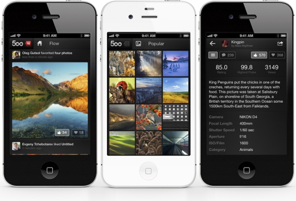 500px para iPhone Disponible (Gratis) |